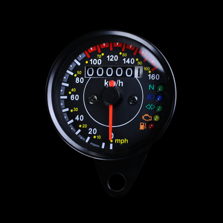 Universal Motorcycle Mini Odometer Speedometer With Gear High Beam Headlight Turn Signal EFI OIL Pump Fuel Level Indicator Light