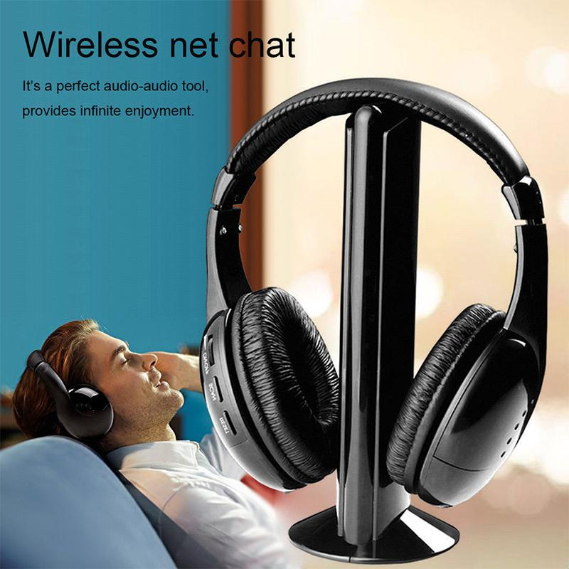 2019 New Arrival 5 In 1 Headset Wireless Headphone Cordless RF Mic For PC TV DVD CD MP3 MP4 Wireless Headphone