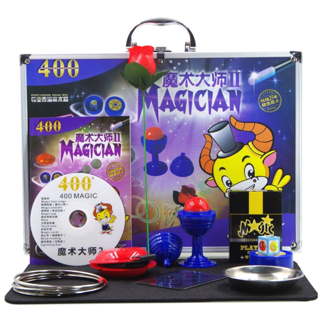Jeu de jouets éducatifs de boîte-cadeau magique d'alliage d'aluminium avec divers accessoires pour l'enfant jouant la fête d'anniversaire montrant le Kit de tour de magie