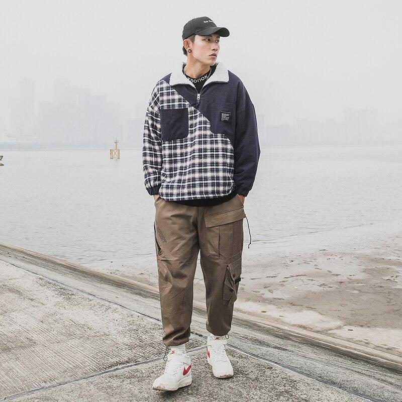 Occasionnel Manteau Lâche hop 2018 Impression Hiver Coton Pour khaki Japonais Vêtements Hip Épaissie Hommes Blue rembourré Grille Patchwork Cachemire xxaOw1HS