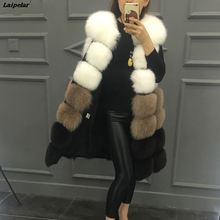 цены Faux Fur Coat Autumn/Winter New Luxury Faux Fur Ladies Vest Long Thick Contrast Color Sleevele Female Jacket casaco feminino