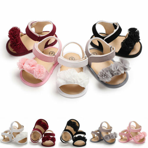 Newborn Kid Baby Girl Flower Sandals Summer Casual Crib Shoes First Prewalker Crib Shoes Bow Casual Sandals