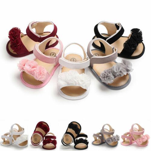 Newborn Kid Baby Girl Flower Sandals Summer Casual Crib Shoes First Prewalker Crib Shoes Bow Casual Sandals