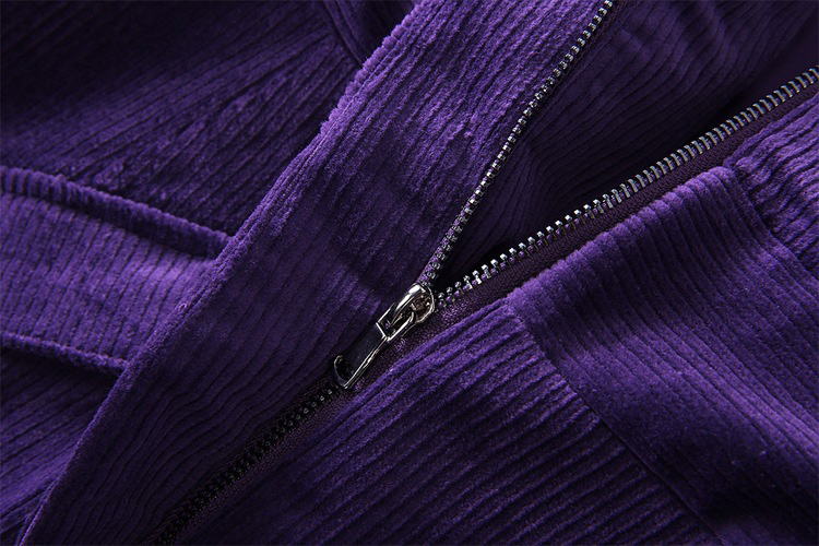 Image 5 - clothes women outwear runway 2019 fall winter woman corduroy  purple coat flap pockets a line long sleeve maxi trench coatTrench   -