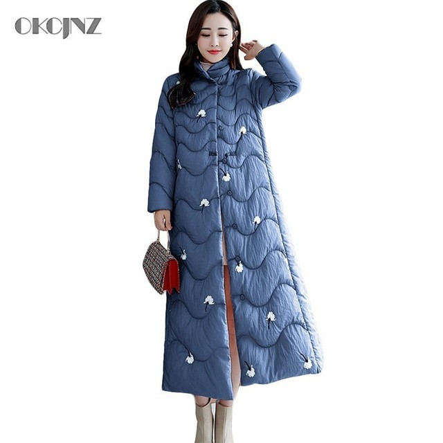 baafb9f83cd Vintage China Long Woman Parka Female Stand Collar Embroidery Winter Jacket  Quilted Coat Plus Size Slim Outwear Snow Wear Okq049