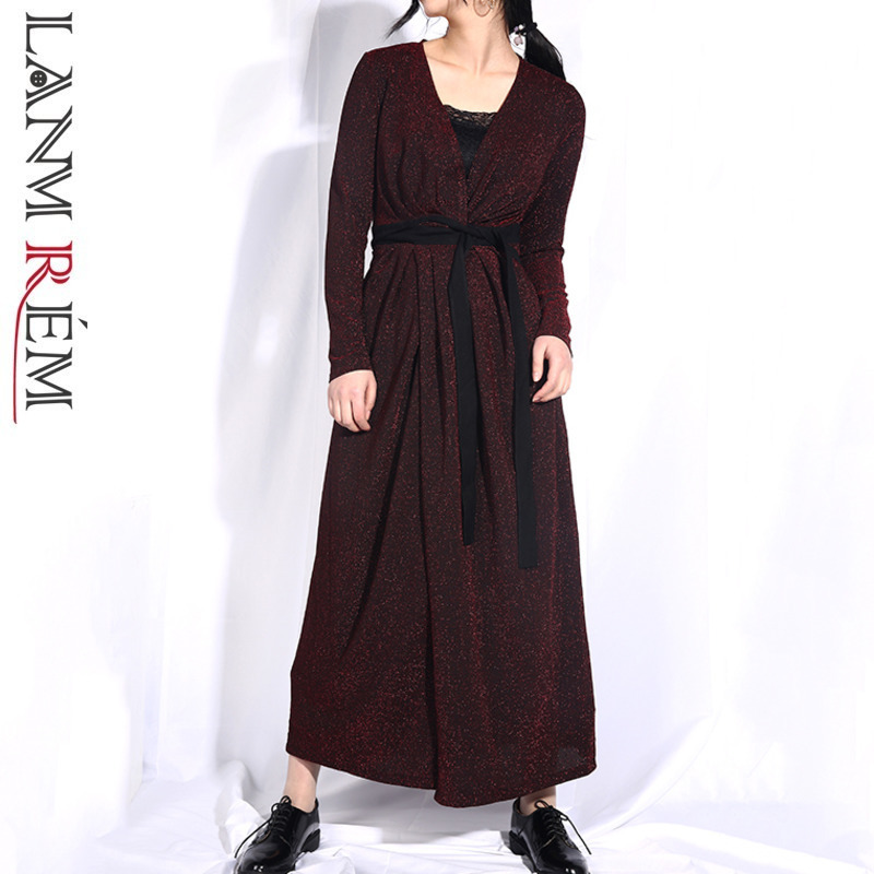 LANMREM 2019 Woman Spring V Collar Adjustable Waist Bandage Shining Windbreaker Female   Trench   Fashion Wine Red Loose Coat JO572