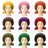 10 Types African Gele Headwear African gele already heatie Aso oke headtie with beads head wraps for Women's Hair Accessories
