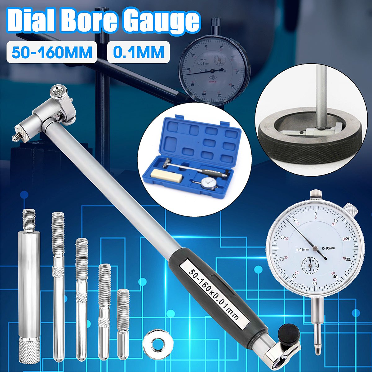 NEW Dial Bore Gauge 50-160MM 0.01MM Bridge Cylinder Internal Bore Measuring Gage Dial Indicators Tools Dropshipping 2019NEW Dial Bore Gauge 50-160MM 0.01MM Bridge Cylinder Internal Bore Measuring Gage Dial Indicators Tools Dropshipping 2019