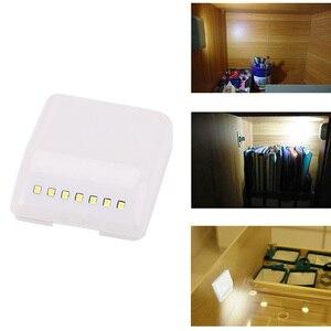 Image 3 - 7 diodo emissor de luz da noite indução pir sensor movimento inteligente noite lâmpada alimentado por bateria gabinete dobradiça luz para armário cozinha gaveta