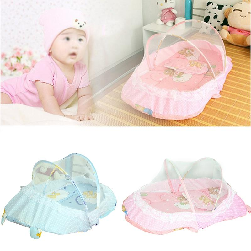 3PCS Baby Crib With Pillow Newborn Mat Set Portable Folding Cradle With Netting Infant Bedding Sleep Travel Cots