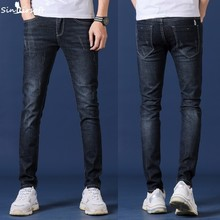 2019 spring new men's jeans blue black classic fashion designer denim skinny jeans men's casual high quality slim trousers цены онлайн