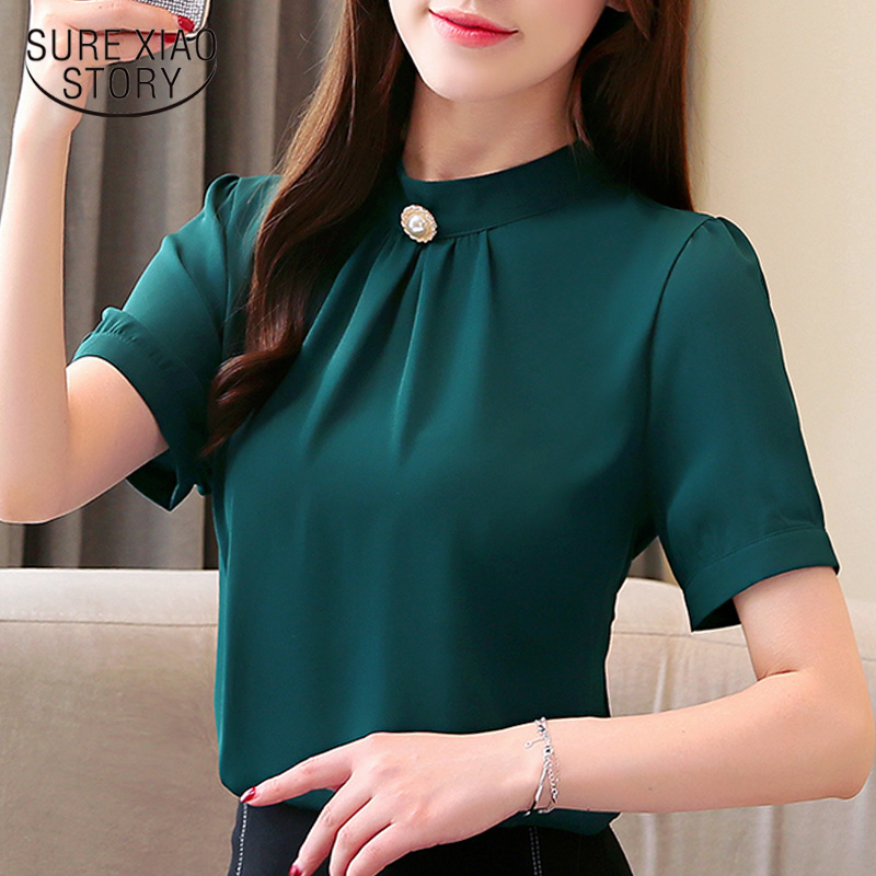 Fashion women   blouses   2019 green chiffon   blouse     shirt   short sleeve smmer women tops women   shirts   womens tops and   blouses   3014 50