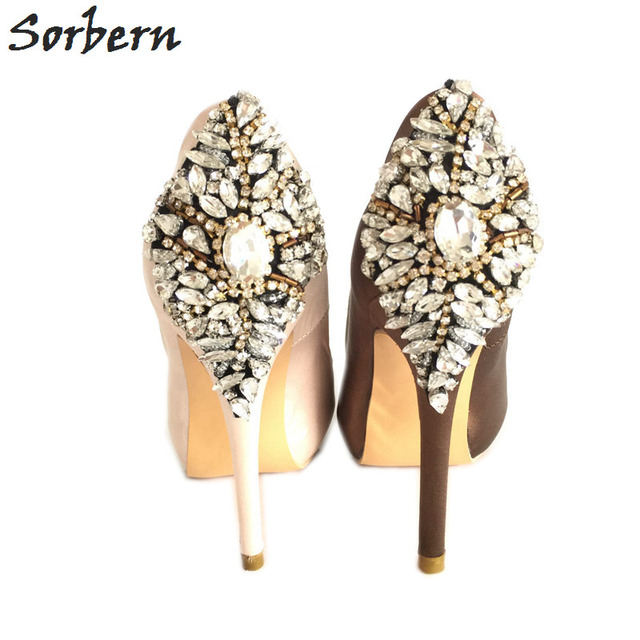 Sorbern Champagne Satin Crystals Wedding Shoes Peep Toe Rhinestones Slip-on Bridal Shoes Pumps High Heels Platforms Custom Color