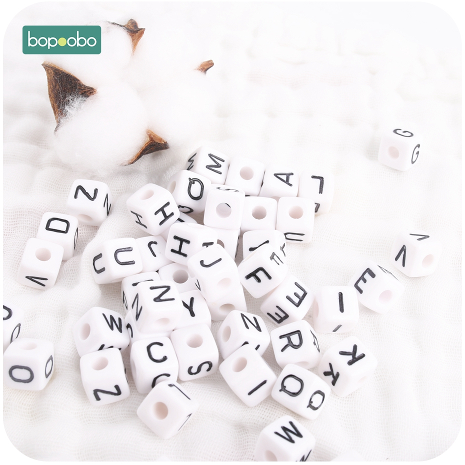 Bopoobo 50PC 13-18 Months 10mm Acrylic Beads White Alphabet Beads For Jewelry Making Kid Diy Material Letter Gift Ecofriendly