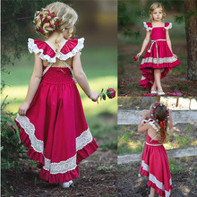 Girls Ruffle Lace Sleeveless Pageant Party dress