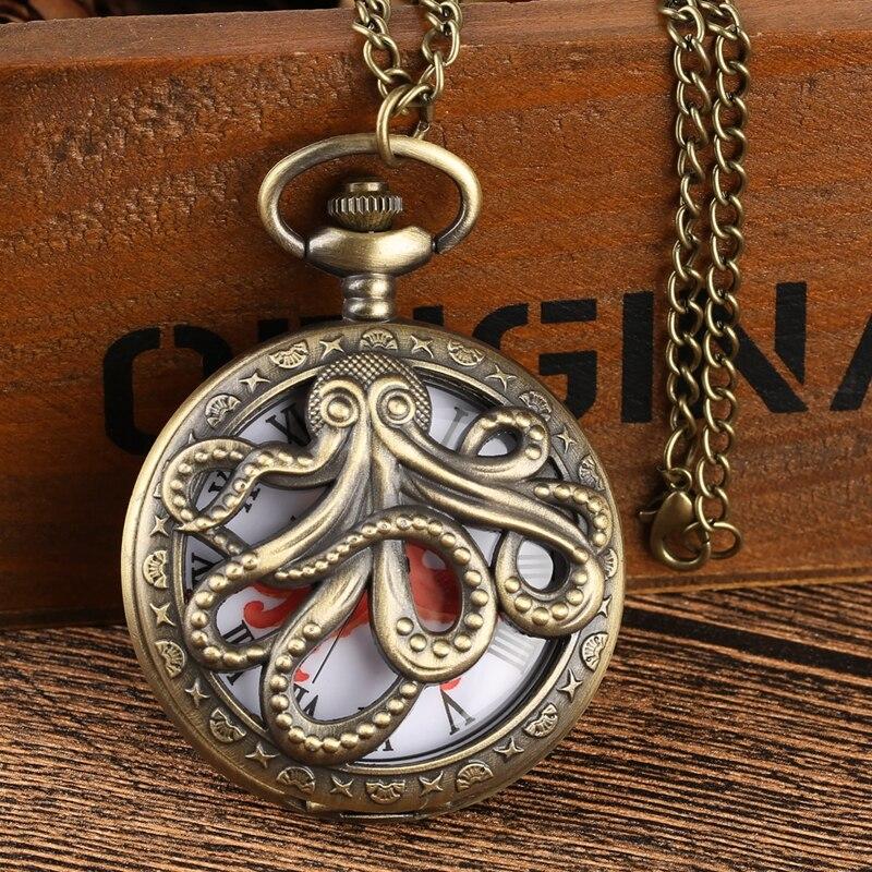 Octopus Shaped Hollow Cover Quartz Pocket Watch Bronze Necklace Pendant Clock Souvenir Gifts For Men Women Relojes De Bolsillo
