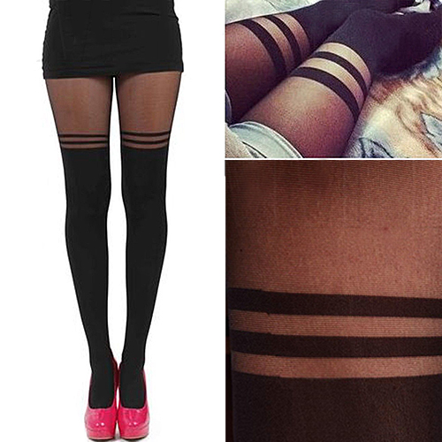 Sexy Lady Girl Double Striped Mock Over The Knee Socks Stockings Sheer Pantyhose Stocking Sexy Thigh High Stockings For Women
