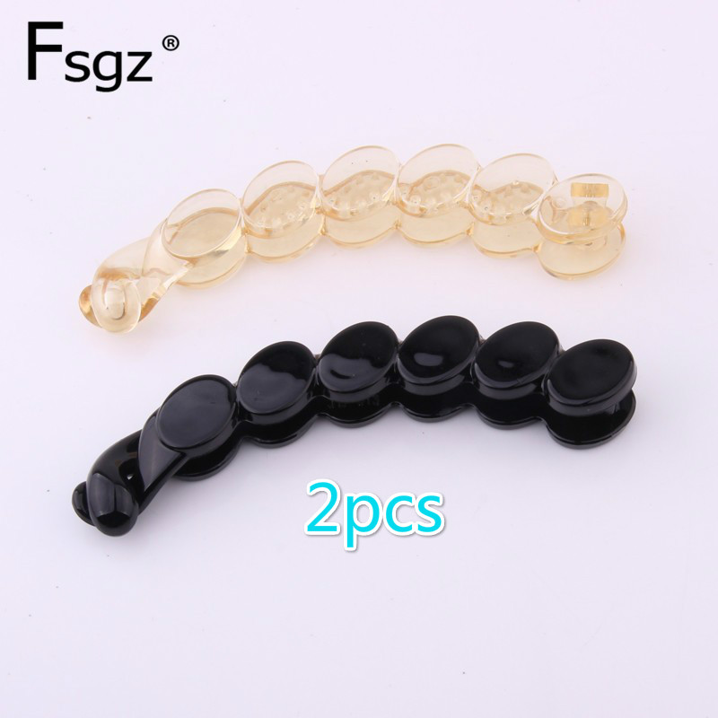 2019 Fashion Europe and America   headwear   for lady black plastic banana clip PC transparent champain peasecod hairpin 11 CM