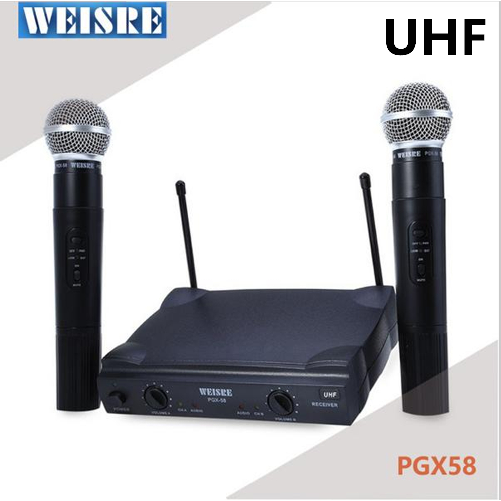 WEISRE PGX58 VHF UHF Dual Professional Wireless Microphone with Receiver for BM 800 Karaoke microphone Party KTV StudioWEISRE PGX58 VHF UHF Dual Professional Wireless Microphone with Receiver for BM 800 Karaoke microphone Party KTV Studio
