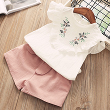 Girls Clothing Sets 2019 Summer Fashion Style Kids Clothes Embroidery T-shirt & Shorts 2Pcs Suit Kids for 3-7 Years