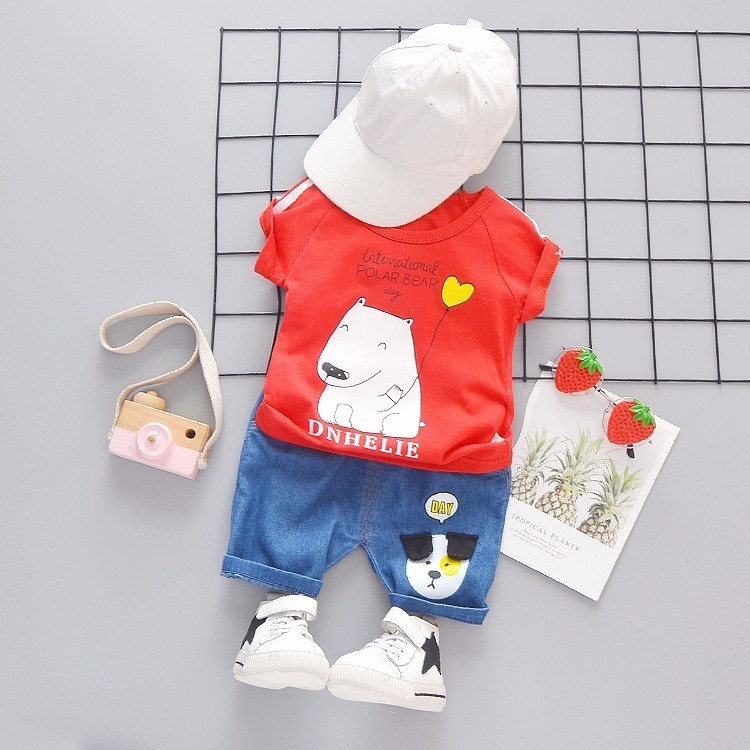 2019 New Summer Baby Boys Girls Clothes Infant Children Clothing Cartoon Kids T shirt Shorts 2Pcs set Fashion Sportswear Suits in Clothing Sets from Mother Kids
