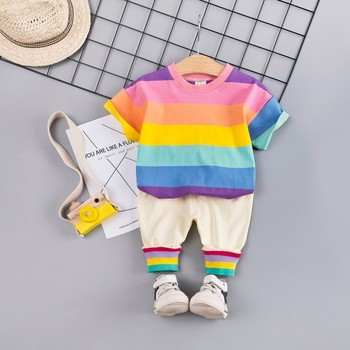 Summer Baby Girls Boys Clothing Sets Toddler Infant Clothes Suits Cotton Rainbow T Shirt Strap Shorts 2Pcs Kids Children Costume casual summer gentleman style kids boys clothing sets cotton sling strap costume shirt short jeans boys clothes suits