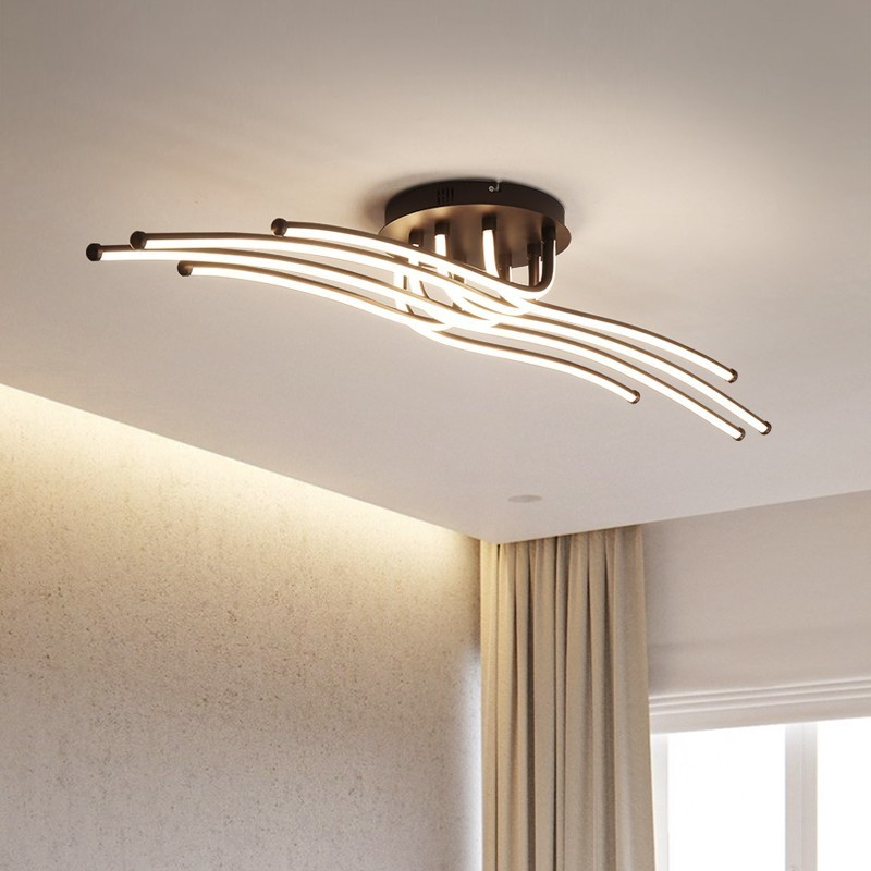 Image 2 - Modern Led Chandelier Aluminum Lights For Living Room Bedroom Home Ceiling Fixtures Luminaire Lustres Remote Control Decoration-in Chandeliers from Lights & Lighting
