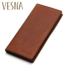 Vesna TAUREN First Layer Cow Genuine Leather Wallet Men Bifold Zipper Crazy Horse Leather Clutches Retro Long Brand Hand Bag europe and the united states retro crazy horse leather travel bag high quality men s leather handbag first layer of leather shou