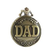 Fashion Vintage Retro Pocket Watch DAD Pattern Pendant Chain Round Dial Analog Necklace For Grandpa Dad Gifts