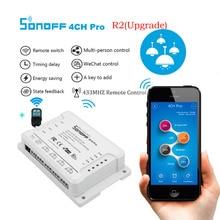 SONOFF 4CH Pro R2 Беспроводной многоканальный WI-FI переключатель для умного дома домашней автоматизации модуль Управление Лер 433 mHz дистанционного Управление