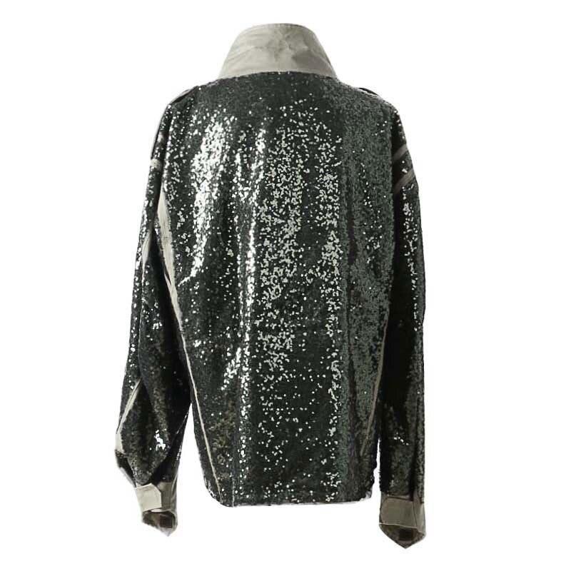 À Punk Automne Surépaisseurs Longues Vêtements Green Patchwork De Mode Vestes Manteau Veste Q843 Sequin Style Femme Femmes Coat 2019 Manches qanw7xRfXw