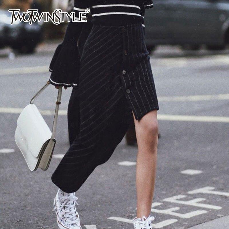 TWOTWINSTYLE asymetryczna z wełny w paski spódnice kobiet wysoka talia nieregularne czarna spódnica damska 2019 moda jesień ubrania nowe w Spódnice od Odzież damska na  Grupa 1