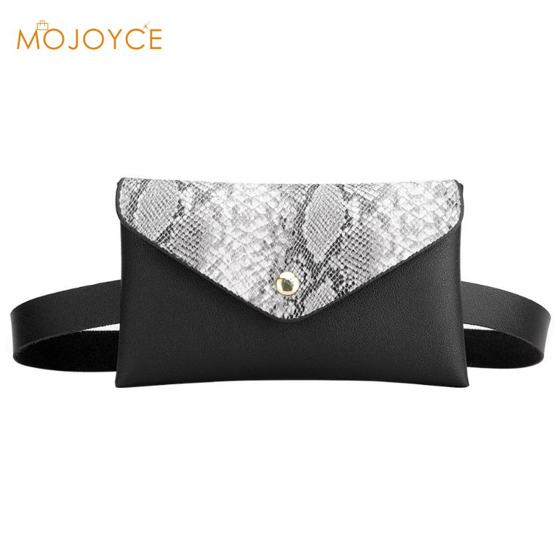 Snake Pattern Shoulder Waist Bags Fanny Belt Packs Phone Pouch Women Flap PU Leather Crossbody Casual Messenger Chest Bags 2019