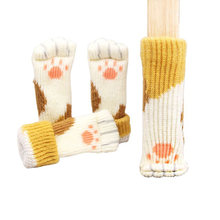 4pcs Knitting Cat Style Chair Leg Socks Floor Protectors For Furniture Legs Non-slip Table Legs Prevent Pet Dog Cat Scratching(China)