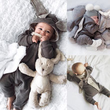 Pudcoco Girl Jumpsuits 0-3Y Newborn Baby Girl Boy Rabbit 3D Ear Romper