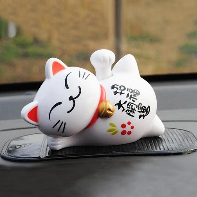 Cute Waving, Good Luck, Solar Powered Cat Figurine