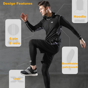 Image 5 - 5 Pieces Men Sportswear Hoodie O neck Sports Suit Elastic Tracksuit Black Gray Sport Clothing Jogging Fitness Gym Running Sets