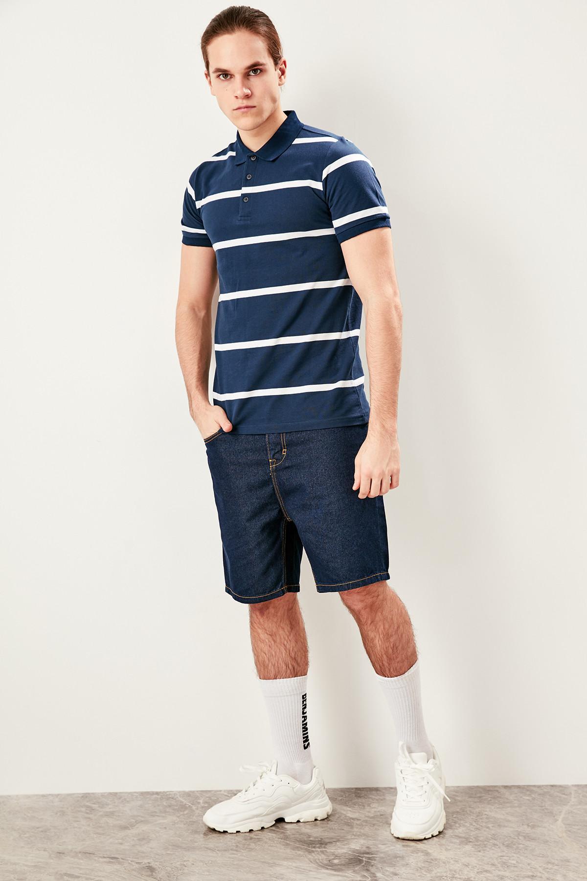 Realistisch Trendyol Navy Gestreiften Slim Fit Polo Neck T Shirt Tmnss19hd0022 SchöNe Lustre
