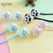 KISSCASE Cute Cat Claw Style Earphones 3.5mm Stereo in-ear Earbuds with Microphone for iPhone Samsung Xiaomi Girls Kids Gifts cute stereo earbuds 3 5mm green