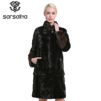 SARSALLYA Natural Furs Women Fur Coats Fashion Long Genuine Coat Mink Fur Coat Real Mink Fur Coat Thick Warm Mandarin Collar