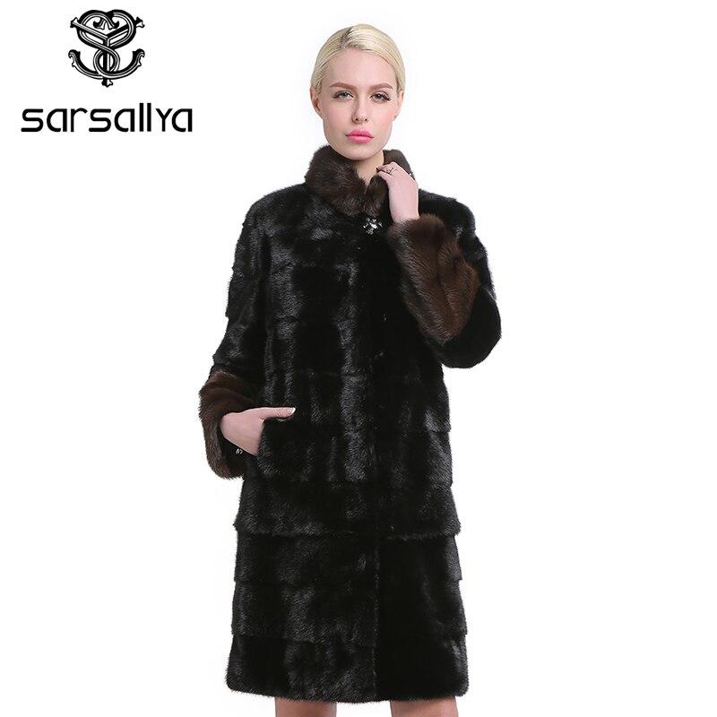 SARSALLYA Natural pieles de piel de las mujeres abrigos moda genuino abrigo de piel de visón Real abrigo grueso cálido mandarín collar