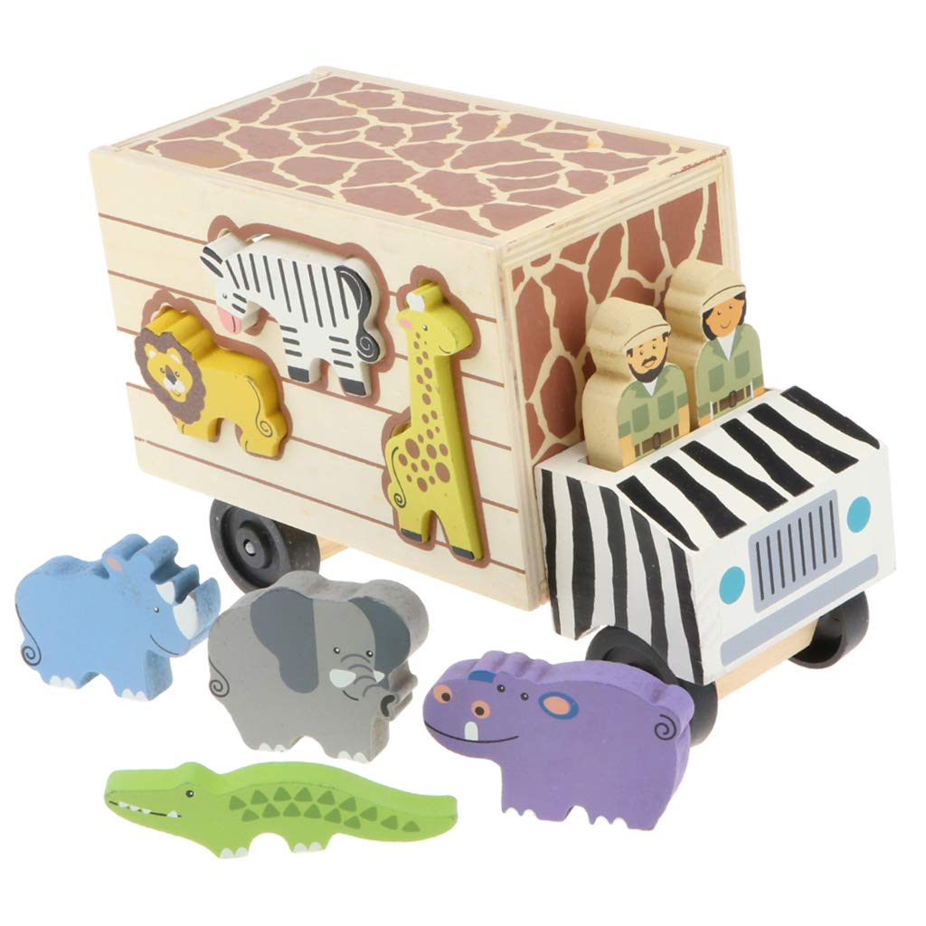 Zoo en bois camion animaux humains blocs correspondant jeu Puzzle début jouet éducatif cadeau d'anniversaire pour enfants bébé enfants
