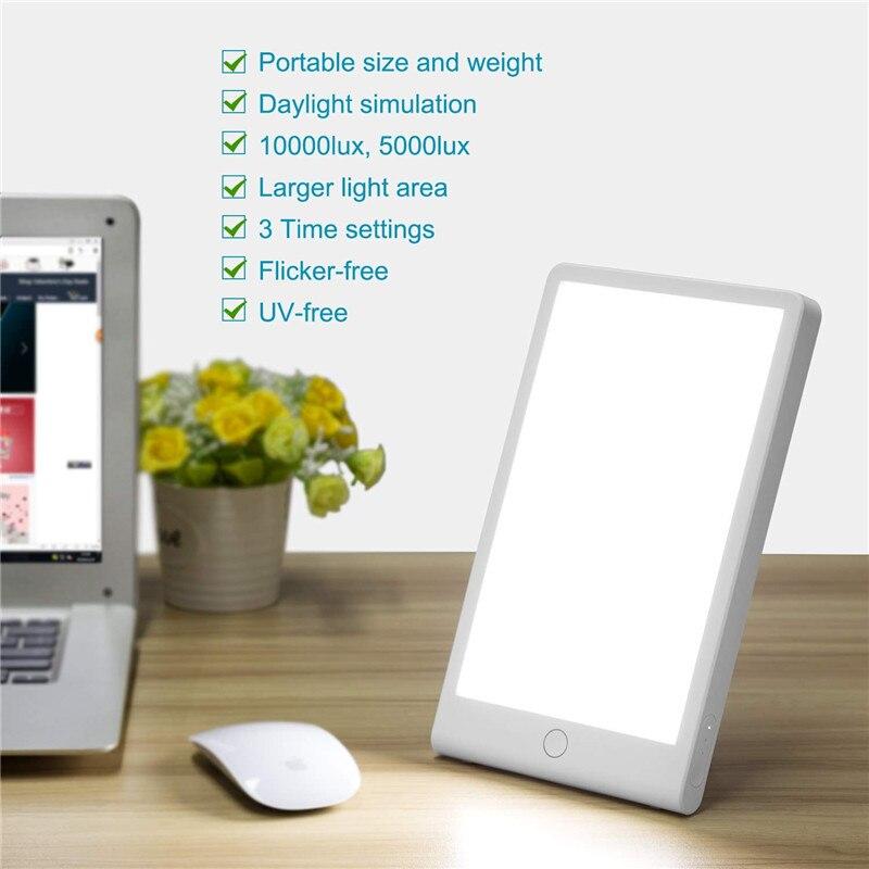 Lampe à énergie thérapeutique 10000 Lux protection des yeux santé lumière du jour lumière Portable avec Base réglable lampe solaire naturelle prise US