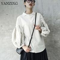 2019 New Spring Summer Lapel Long Sleeve White Shirt Blouse Flashlight Double Split Joint Of Women Tassels A053
