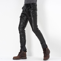 Winte Новые мужские штаны из натуральной кожи мужские деловые повседневные тонкие брюки Корейская версия мотоциклетные Натуральная Овечья К