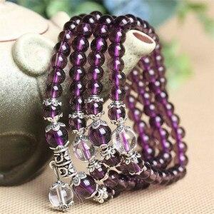Image 3 - 6mm 108 Beads Purple Natural Crystal Bracelet Brazil Prayer Beads Multi layer Rosary Mala Bracelets
