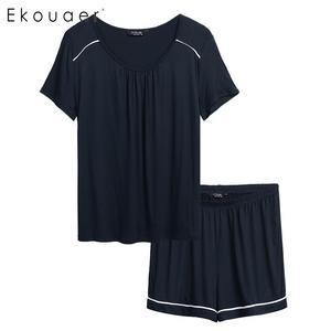 Image 3 - Ekouaer Plus Size Pijamas Conjunto Pijamas Das Mulheres de Manga Curta Cintura Elástica Shorts Pijamas Pajama Set Duas Peças Loungewear Terno