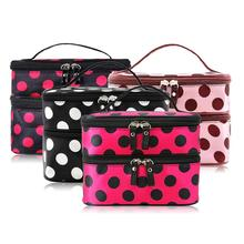 Double-Deck Zipper Makeup Cosmetic Bag Convenient Travel Mak