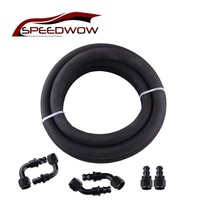 SPEEDWOW AN6 0+45+90+180 Degree Push on Fuel Fittings Hose End Adapter & 3M Black Rubber Oil Fuel Hose Line Pipe Kit