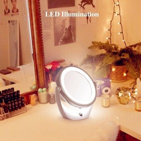 Led Espelho de Maquilhagem Com Luz 1 5x360 Amplia o Espelho de Maquiagem com o